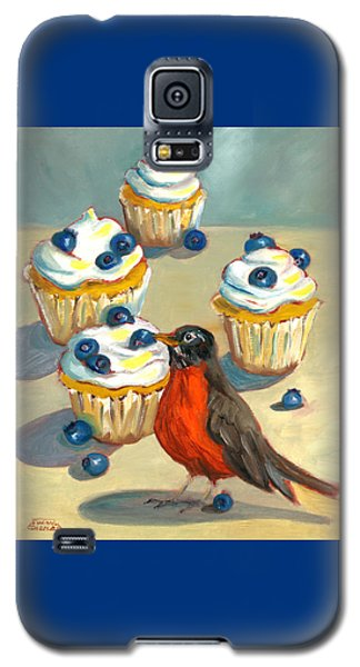 Robin With Blueberry Cupcakes Galaxy S5 Case
