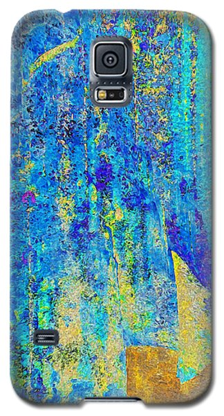 Rock Art Blue And Gold Galaxy S5 Case by Stephanie Grant