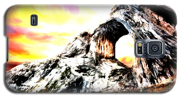 Galaxy S5 Case featuring the painting Rock Cliff Sunset by Bruce Nutting