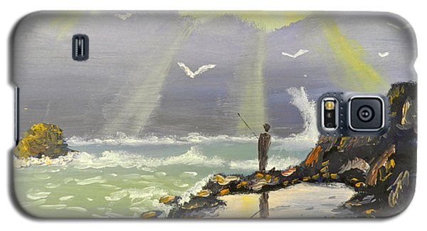 Galaxy S5 Case featuring the painting Rock Fishing At Wombarra  by Pamela  Meredith