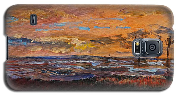Galaxy S5 Case featuring the painting Rock Harbor Sunset by Michael Helfen