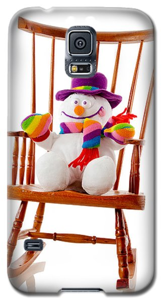 Galaxy S5 Case featuring the photograph Happy Snowman Sitting In A Rocking Chair  by Vizual Studio
