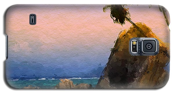 Galaxy S5 Case featuring the painting Rocky Beach by Wayne Pascall