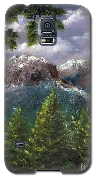 Galaxy S5 Case featuring the painting Rocky Mountains National Park Colorado by Lenora  De Lude