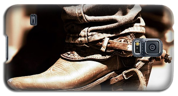 Galaxy S5 Case featuring the photograph Rodeo Boot And Spur In Copper Tint by Lincoln Rogers