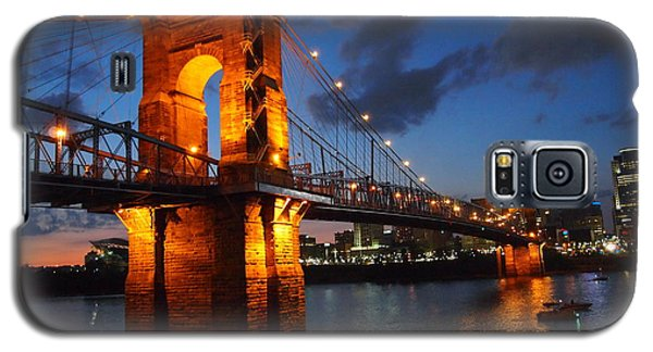 Roebling Suspension Bridge At Sunset Galaxy S5 Case by Deborah Fay
