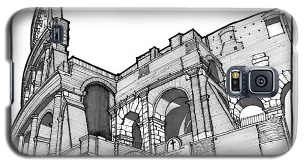 Galaxy S5 Case featuring the drawing Roman Colosseum by Calvin Durham