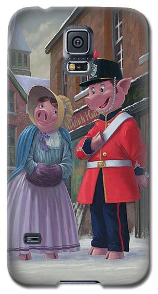 Romantic Victorian Pigs In Snowy Street Galaxy S5 Case