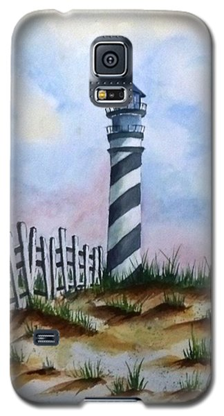 Galaxy S5 Case featuring the painting Ron's Lighthouse by Richard Benson