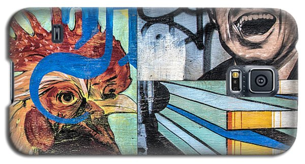 Galaxy S5 Case featuring the mixed media Rooster And Man Graffiti by Terry Rowe
