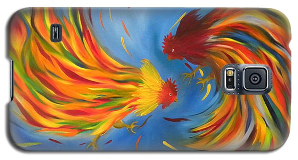Galaxy S5 Case featuring the painting Rooster Fight by Fanny Diaz