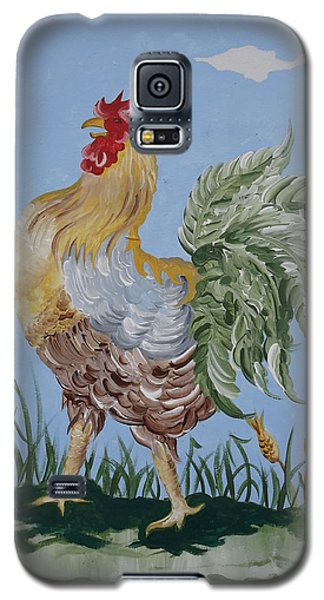 Galaxy S5 Case featuring the painting Rooster by Leslie Manley