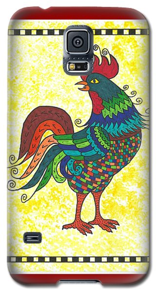 Galaxy S5 Case featuring the painting Rooster Strutting His Stuff by Susie Weber
