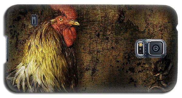 Galaxy S5 Case featuring the mixed media Rooster With Brush Calligraphy Loyalty by Peter v Quenter