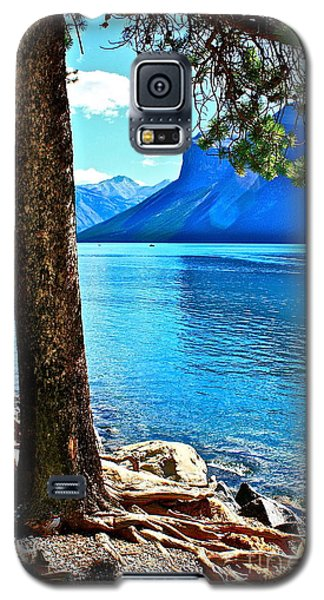 Galaxy S5 Case featuring the photograph Rooted In Lake Minnewanka by Linda Bianic