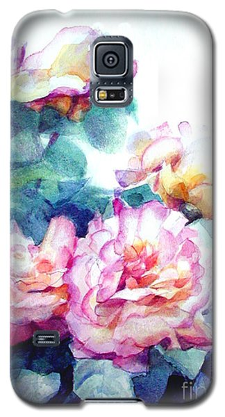 Galaxy S5 Case featuring the painting Pink Rose Bush by Greta Corens