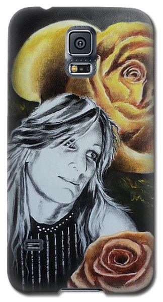 Galaxy S5 Case featuring the drawing Rose by Carla Carson