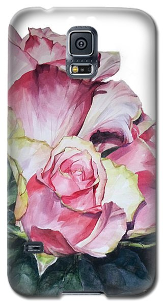 Watercolor Of A Bouquet Of Pink Roses I Call Rose Michelangelo Galaxy S5 Case