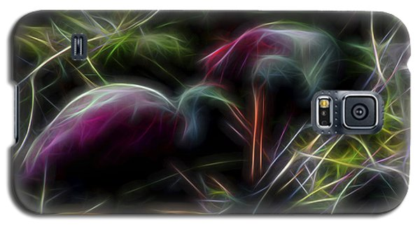 Galaxy S5 Case featuring the digital art Roseate Spoonbills 2 by William Horden
