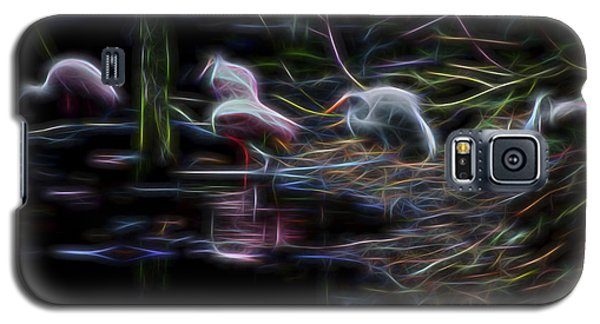 Galaxy S5 Case featuring the digital art Roseate Spoonbills 3 by William Horden
