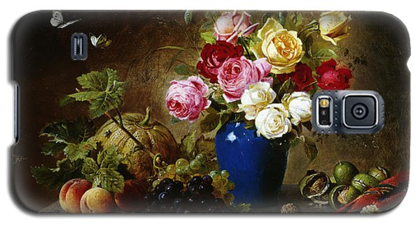 Roses In A Vase Peaches Nuts And A Melon On A Marbled Ledge Galaxy S5 Case by Olaf August Hermansen
