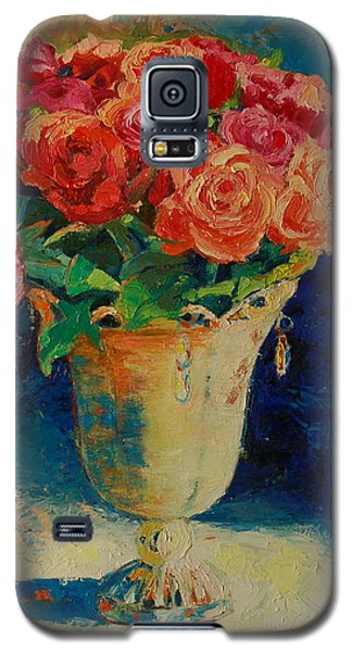 Galaxy S5 Case featuring the painting Roses In Wire Vase by Thomas Bertram POOLE