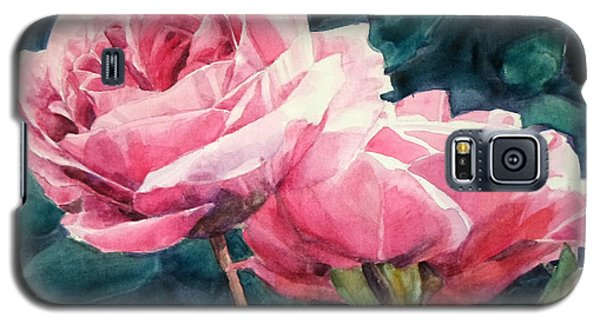 Watercolor Of Two Luscious Pink Roses Galaxy S5 Case