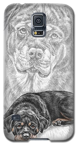 Galaxy S5 Case featuring the drawing Rottie Charm - Rottweiler Dog Print With Color by Kelli Swan