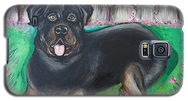 Galaxy S5 Case featuring the painting Rottweiler by Leslie Manley