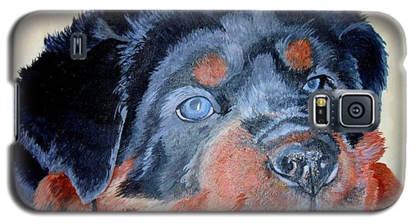 Galaxy S5 Case featuring the painting Rottweiler Puppy Portrait by Tracey Harrington-Simpson