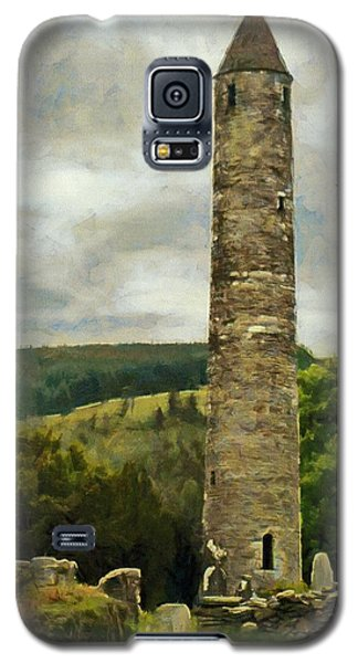 Galaxy S5 Case featuring the painting Round Tower At Glendalough by Jeff Kolker