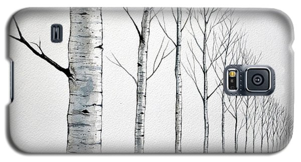 Row Of Birch Trees In The Snow Galaxy S5 Case