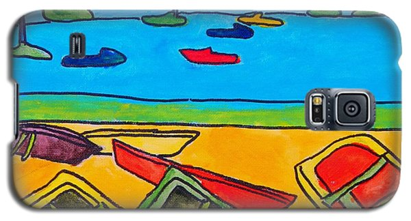 Galaxy S5 Case featuring the painting Rowboats by Artists With Autism Inc