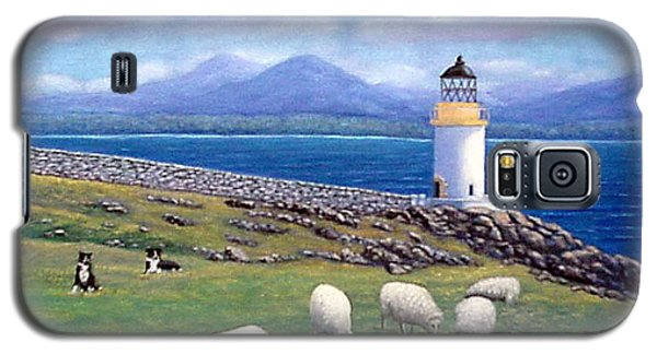 Galaxy S5 Case featuring the painting Rubh An Duin Lighthouse Scotland by Fran Brooks