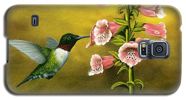 Ruby Throated Hummingbird And Foxglove Galaxy S5 Case