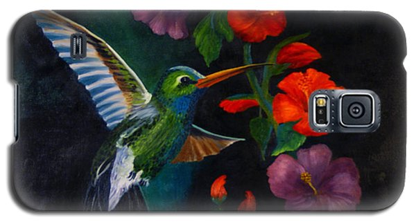 Galaxy S5 Case featuring the painting Rubythroated Humming Bird And Hibiscus by J Cheyenne Howell