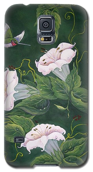 Galaxy S5 Case featuring the painting Hummingbird And Lilies by Sharon Duguay