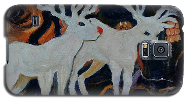 Galaxy S5 Case featuring the painting Rudolph And Friend by Julie Todd-Cundiff