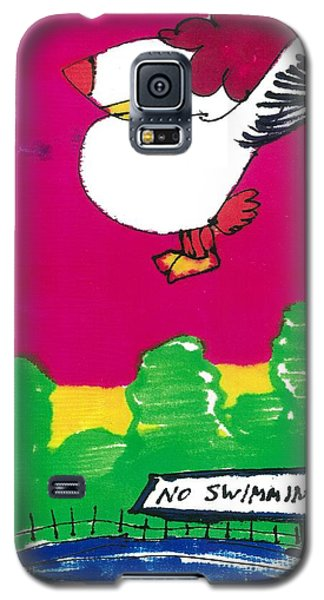 Galaxy S5 Case featuring the drawing Ruffy The Rooster by Don Koester
