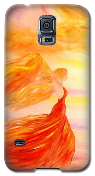 Galaxy S5 Case featuring the painting Running Along The Beach by Lilia D