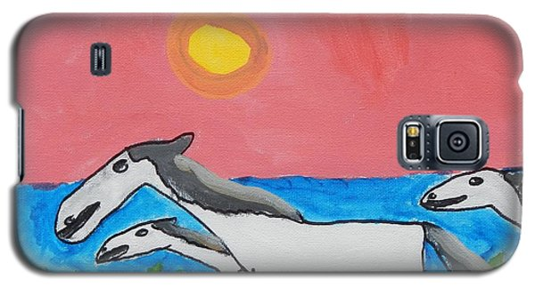 Galaxy S5 Case featuring the painting Running Ponies by Artists With Autism Inc