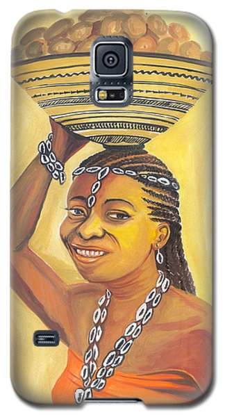 Galaxy S5 Case featuring the painting Rural Woman From Cameroon by Emmanuel Baliyanga