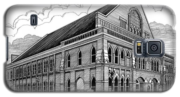 Galaxy S5 Case featuring the drawing Ryman Auditorium In Nashville Tn by Janet King