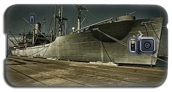 Galaxy S5 Case featuring the photograph S. S. Lane Victory ... W W 2 Era Victory Class Cargo Ship by Chuck Caramella