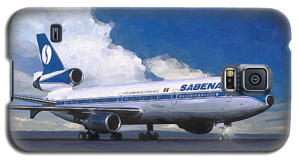 Galaxy S5 Case featuring the painting Sabena Dc-10 At Kinshasa by Nop Briex