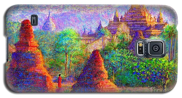 Galaxy S5 Case featuring the painting Bagan, Burma, Sacred Spires by Jane Small