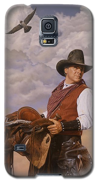 Galaxy S5 Case featuring the painting Saddle 'em Up by Ron Crabb