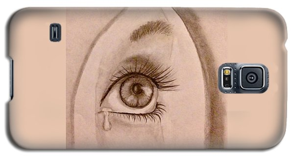 Galaxy S5 Case featuring the drawing Sadness In The Eye by Bozena Zajaczkowska