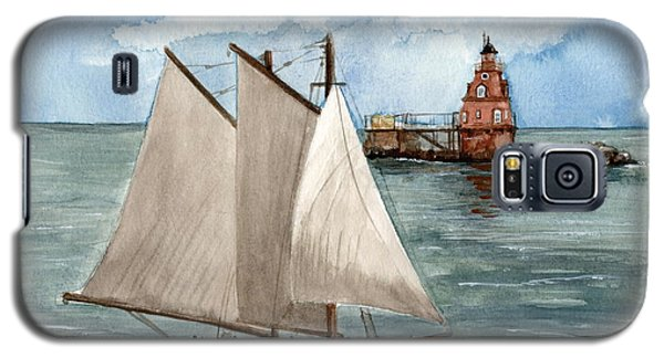 Galaxy S5 Case featuring the painting Safely Past The Shoal  by Nancy Patterson