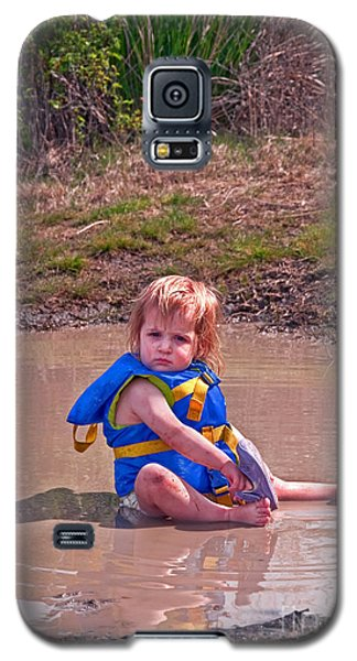 Galaxy S5 Case featuring the photograph Safety Is Important - Toddler In Mudpuddle Art Prints by Valerie Garner